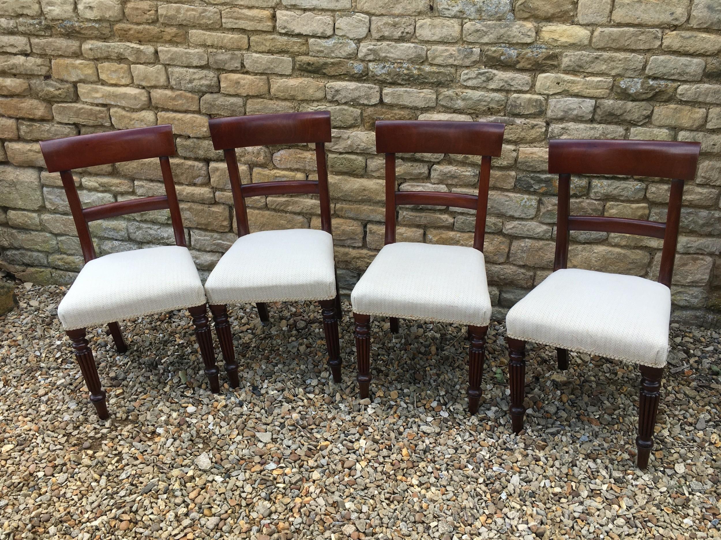 set of 4 mahogany regency style dining chairs