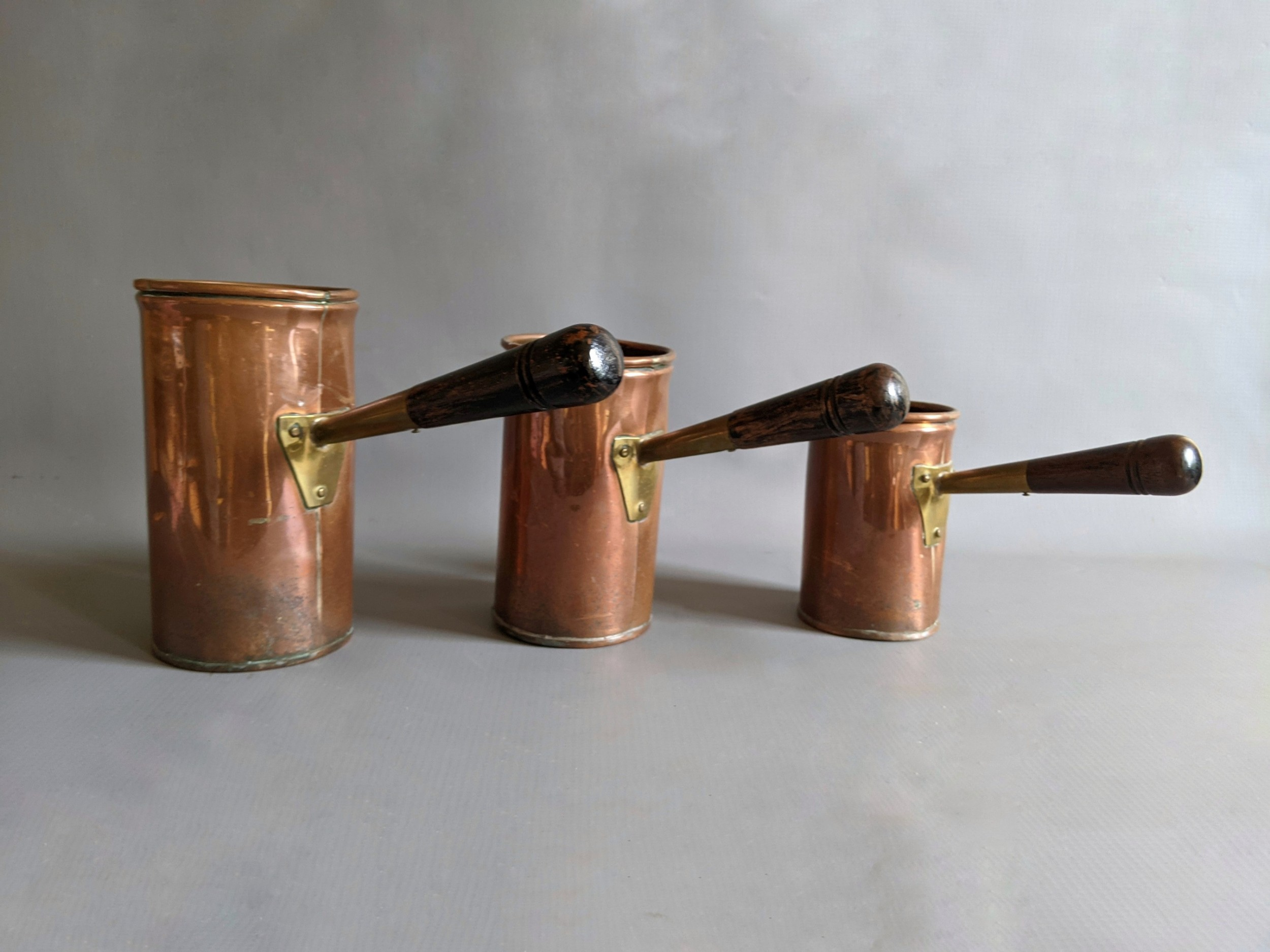 19th century copper ale warmers set of 3