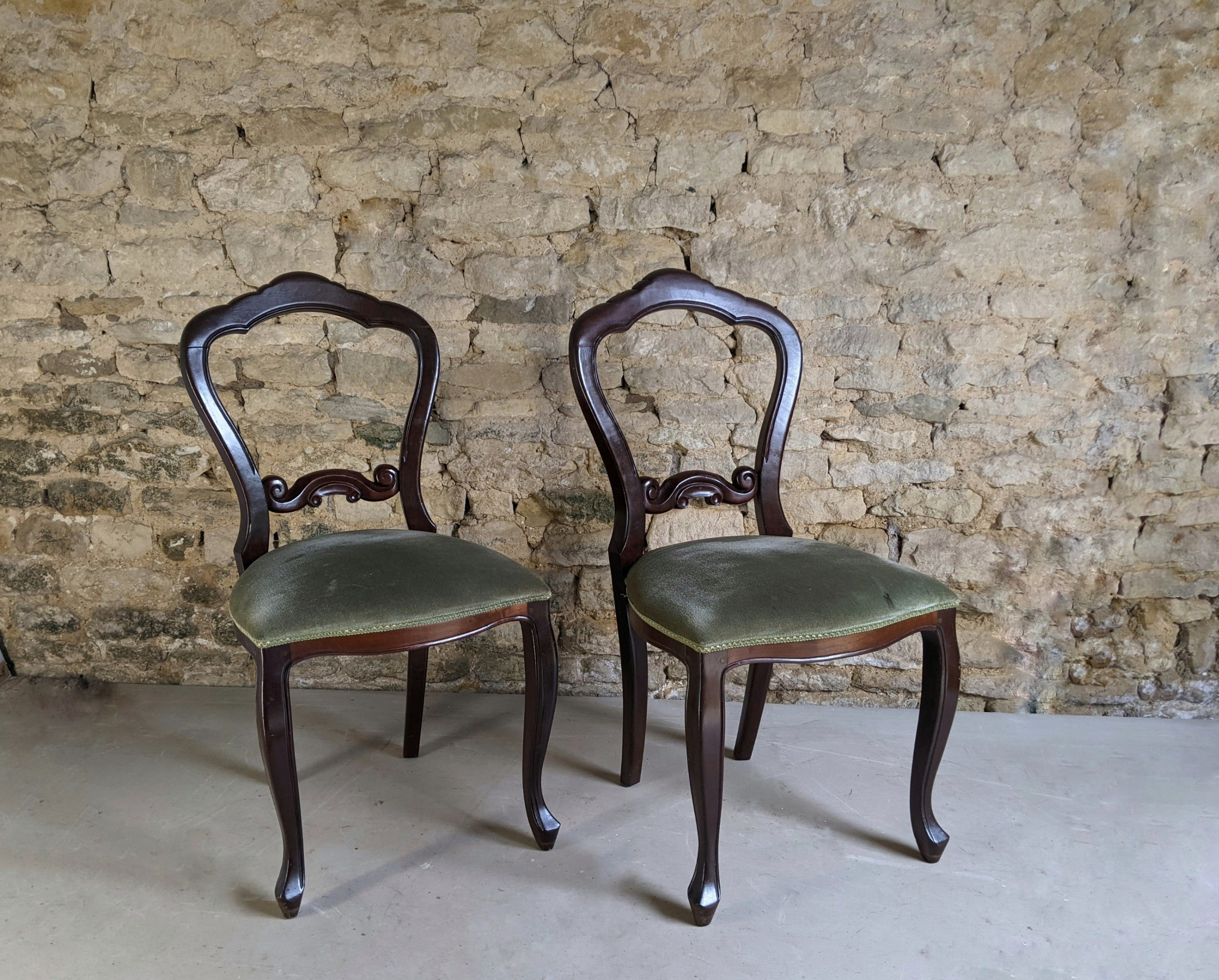 set of 6 early victorian style mahogany dining chairs