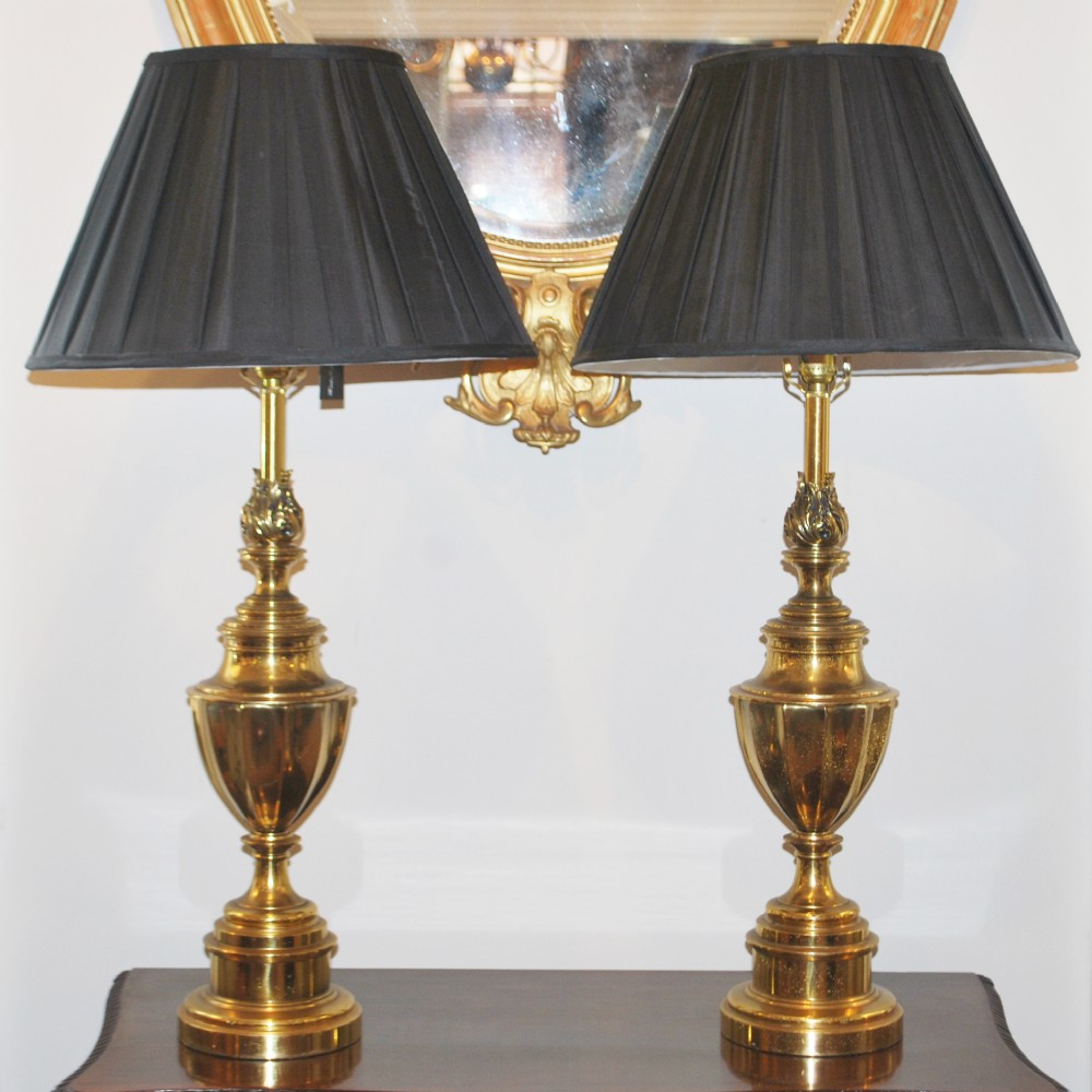 Brass Table Lamps : Pair of brass stiffel table lamps