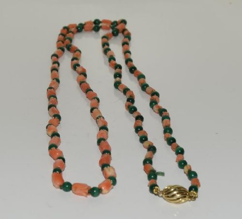 victorian gold carved coral and malachite necklace