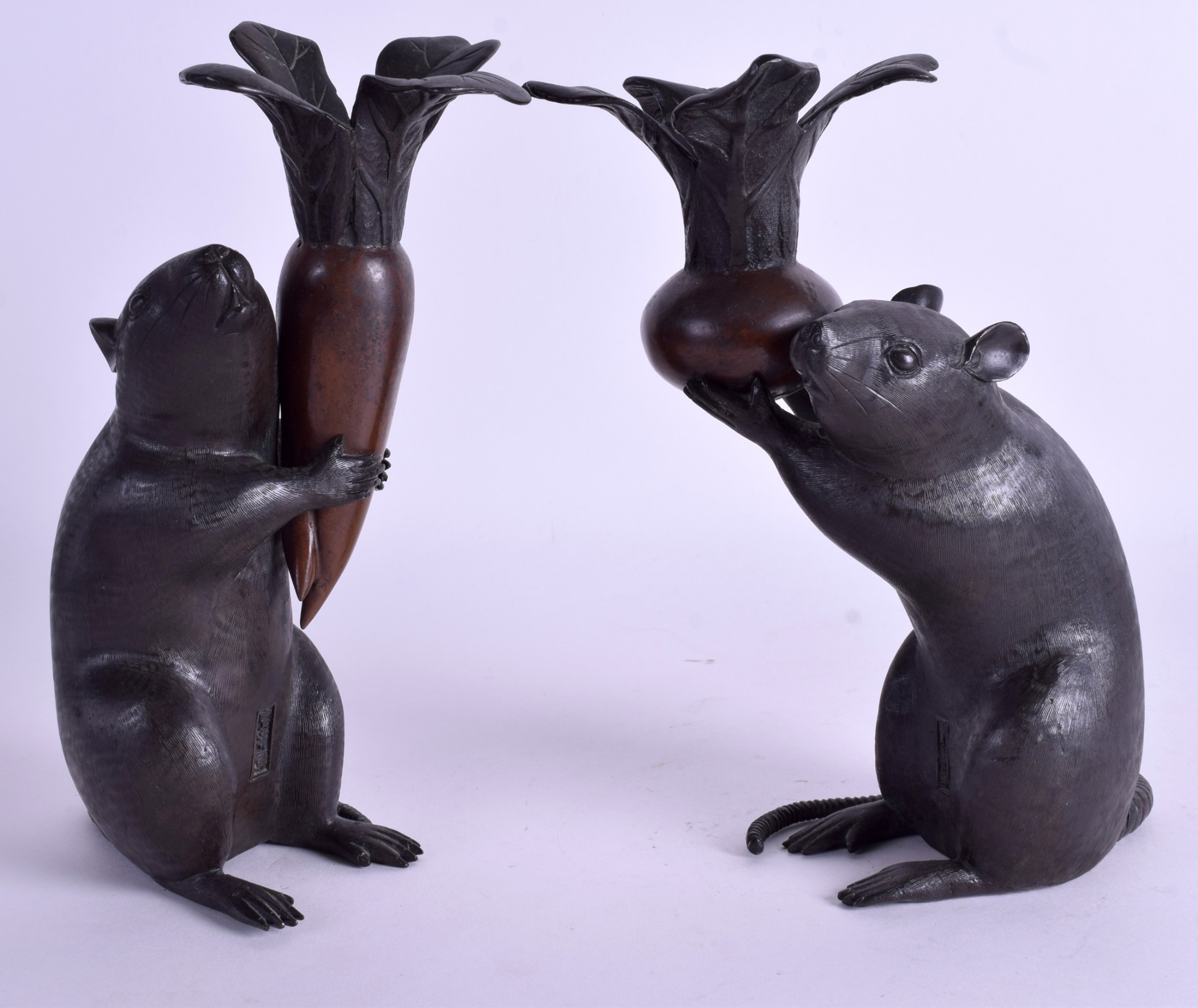 rare pair of japanese rats okimonos