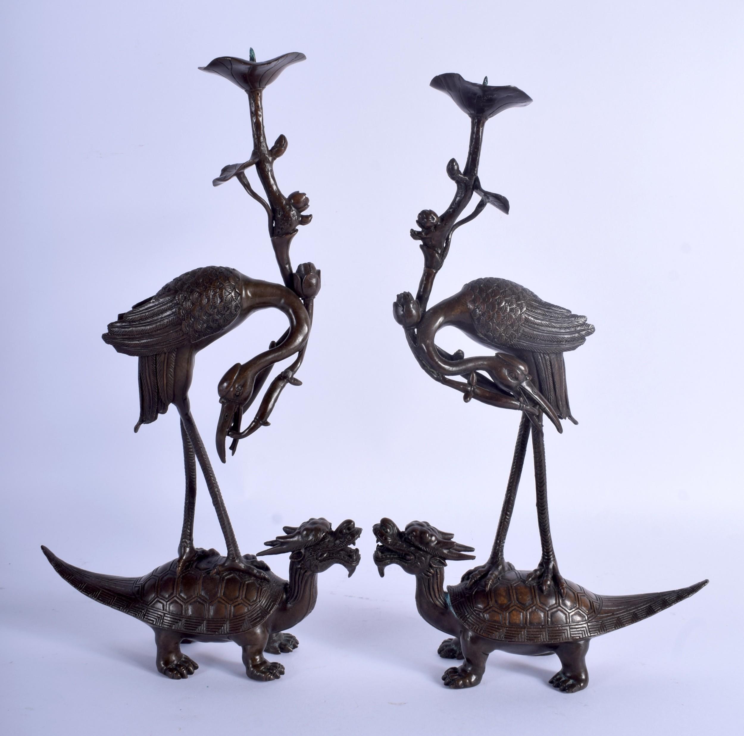 pair japanese bronze antique okimonos