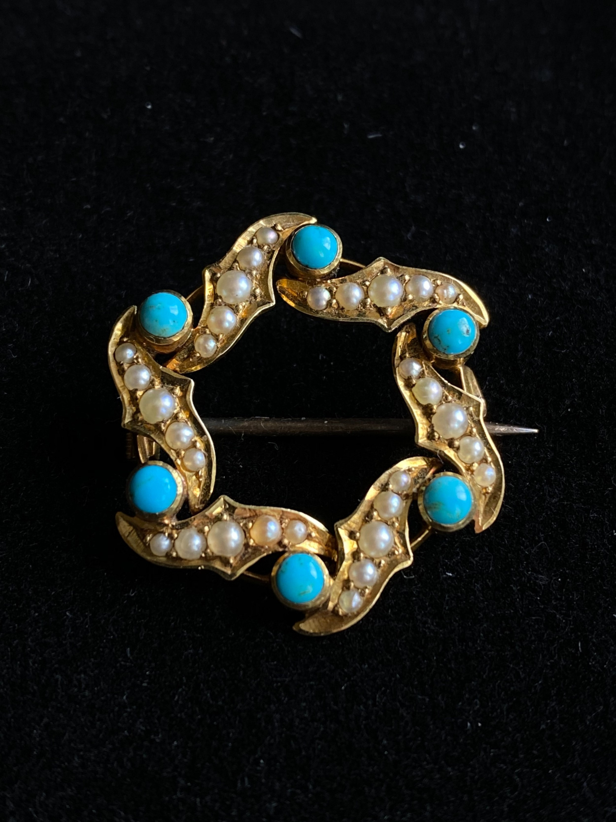 15ct pearl turquoise brooch
