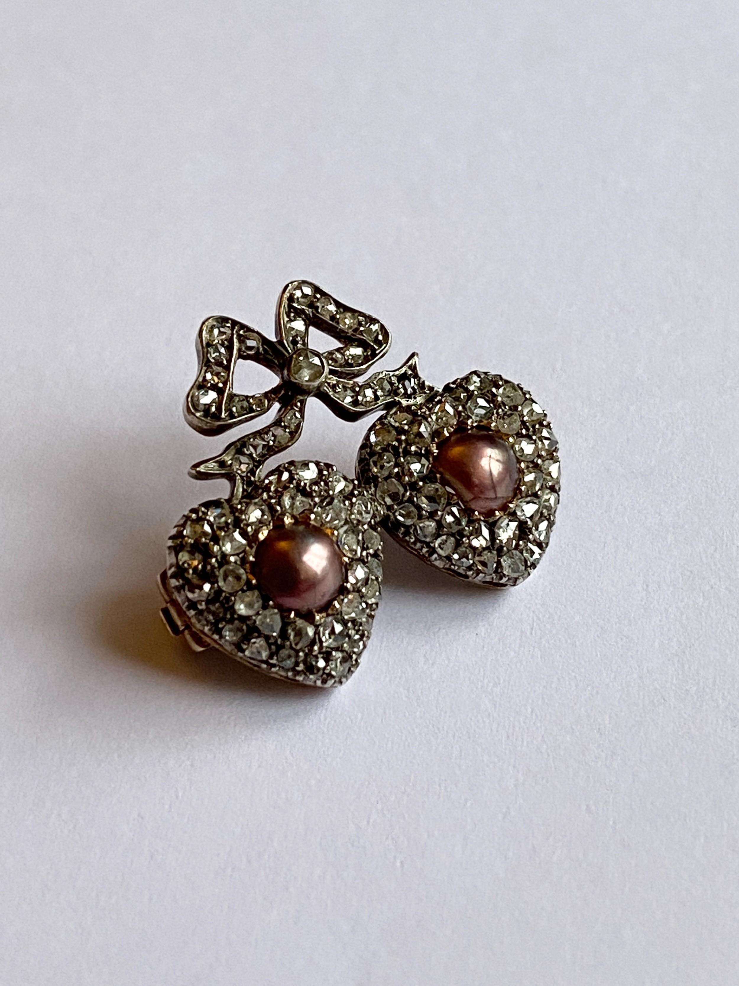 victorian rose diamond and pearl double heart brooch