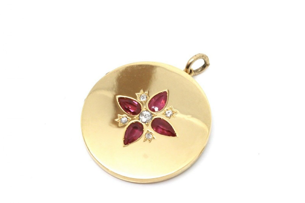 a superb antique edwardian c1909 15ct gold ruby diamond locket pendant