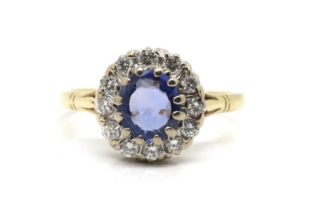 a fine vintage art deco style 18ct yellow gold sapphire diamond cluster ring