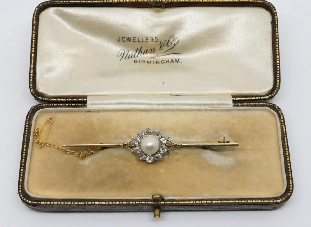 a fine antique victorian 15ct gold pearl diamond cluster bar brooch box