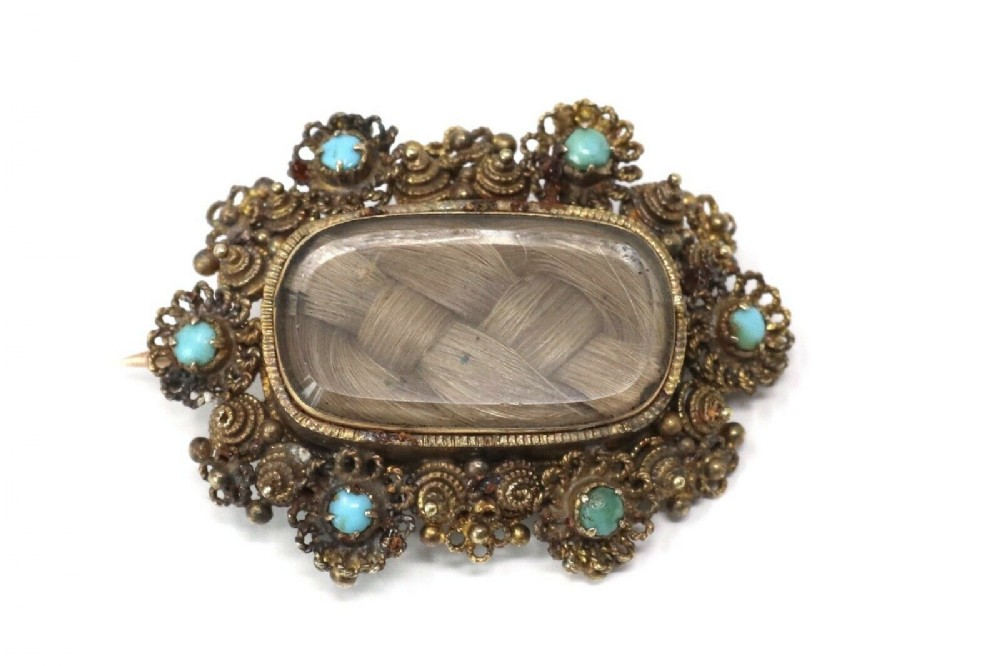 a lovely antique georgian 18ct gold turquoise cannetille mourning brooch boxed