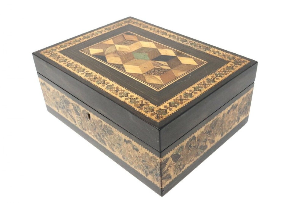 a very nice antique victorian tunbridge ware sewing box woodenware signed barton