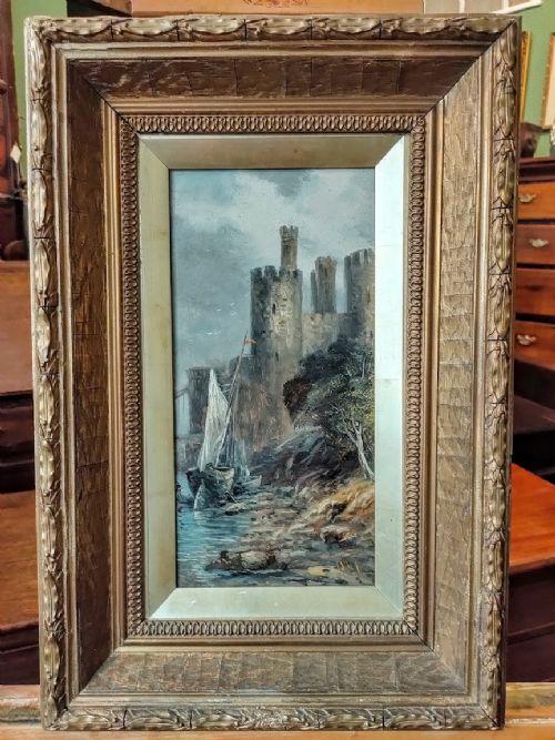 oil painting ships anchored at caernarfon castle william callow