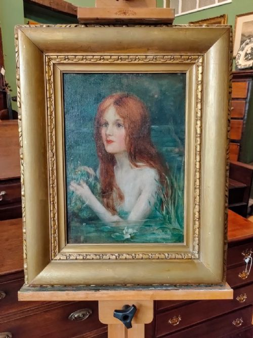 oil painting water nymph by m craiclane signed 1910