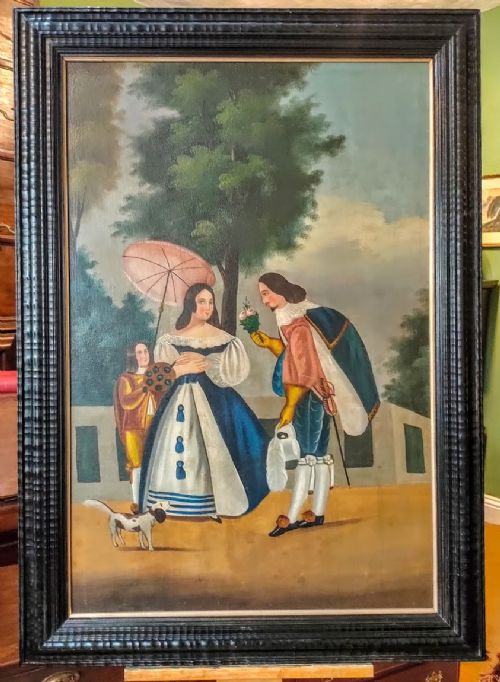 oil painting naive school in the 18th century style