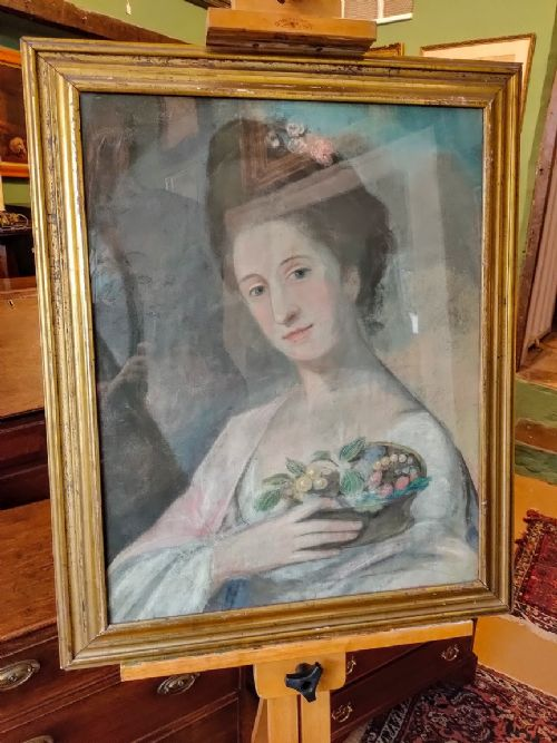 19th c pastel painting framed portrait of a fashionable lady