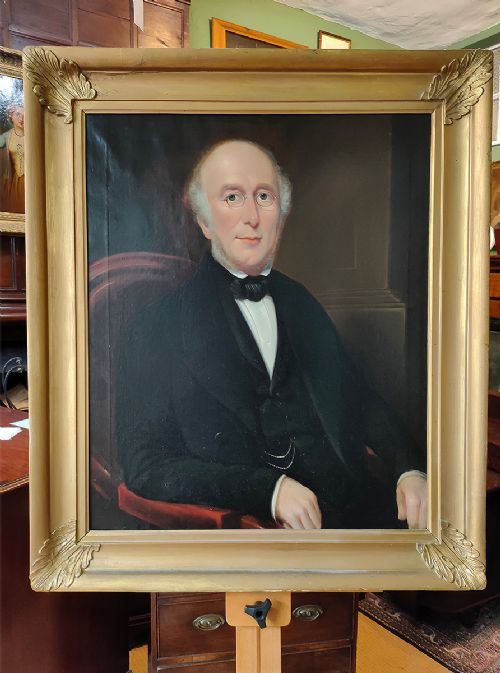 oil painting portrait of a seated victorian gentleman