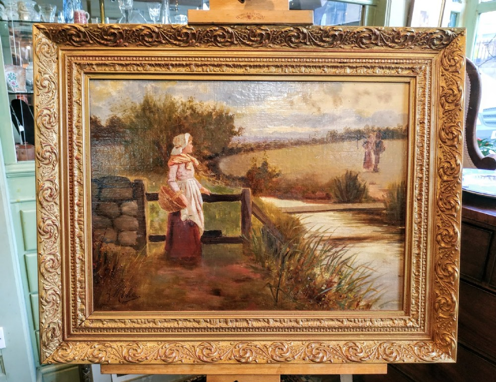 the lady by a stream oil painting on canvasboard signed g moore