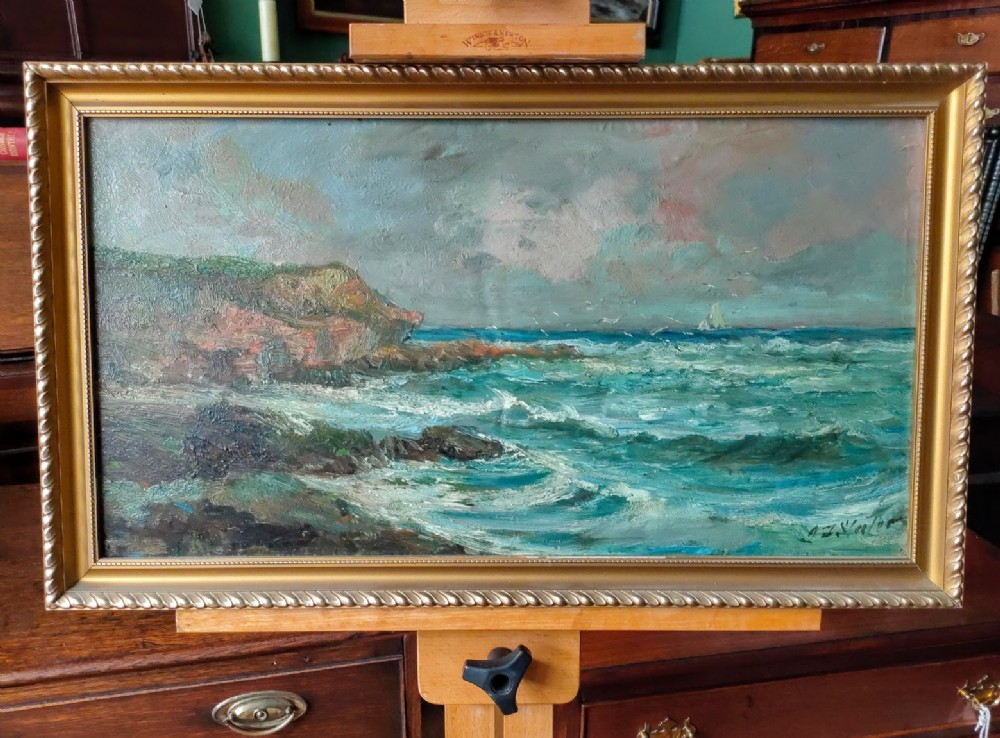 oil painting impressionist seascape signed by john falconer slater