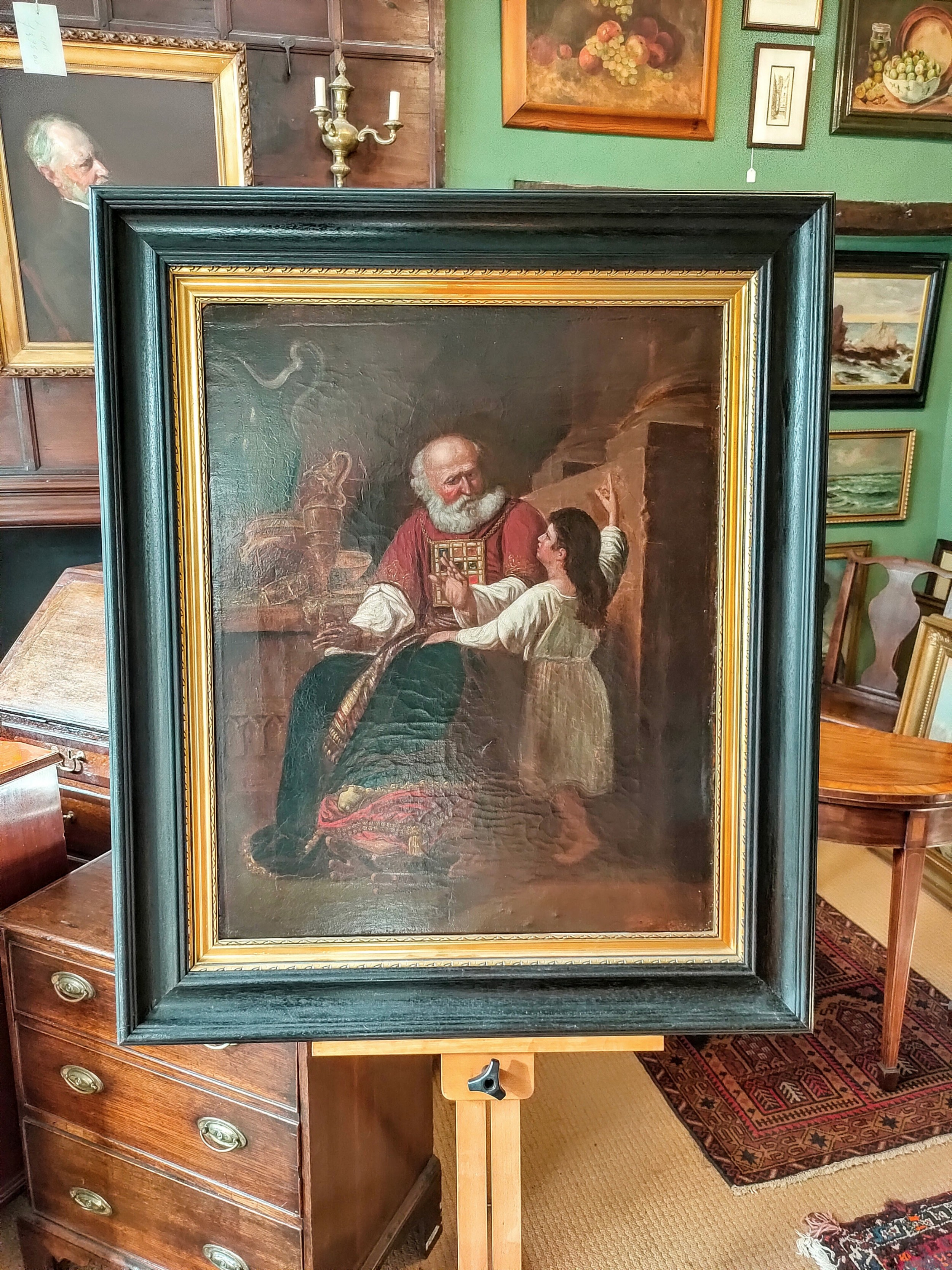 oil painting 19th century biblical depiction of samuel and david