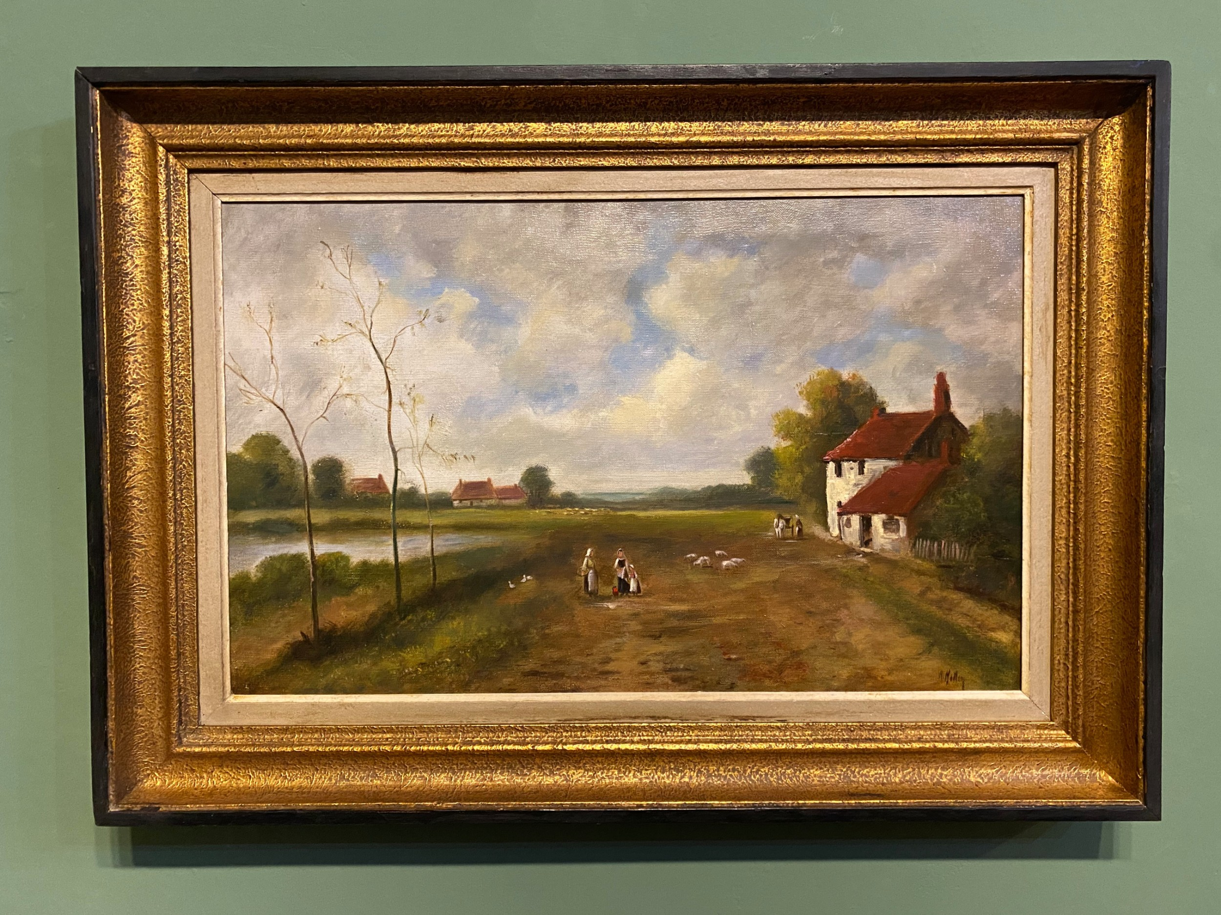 oil painting 19th century farmland landscape signed oil on canvas
