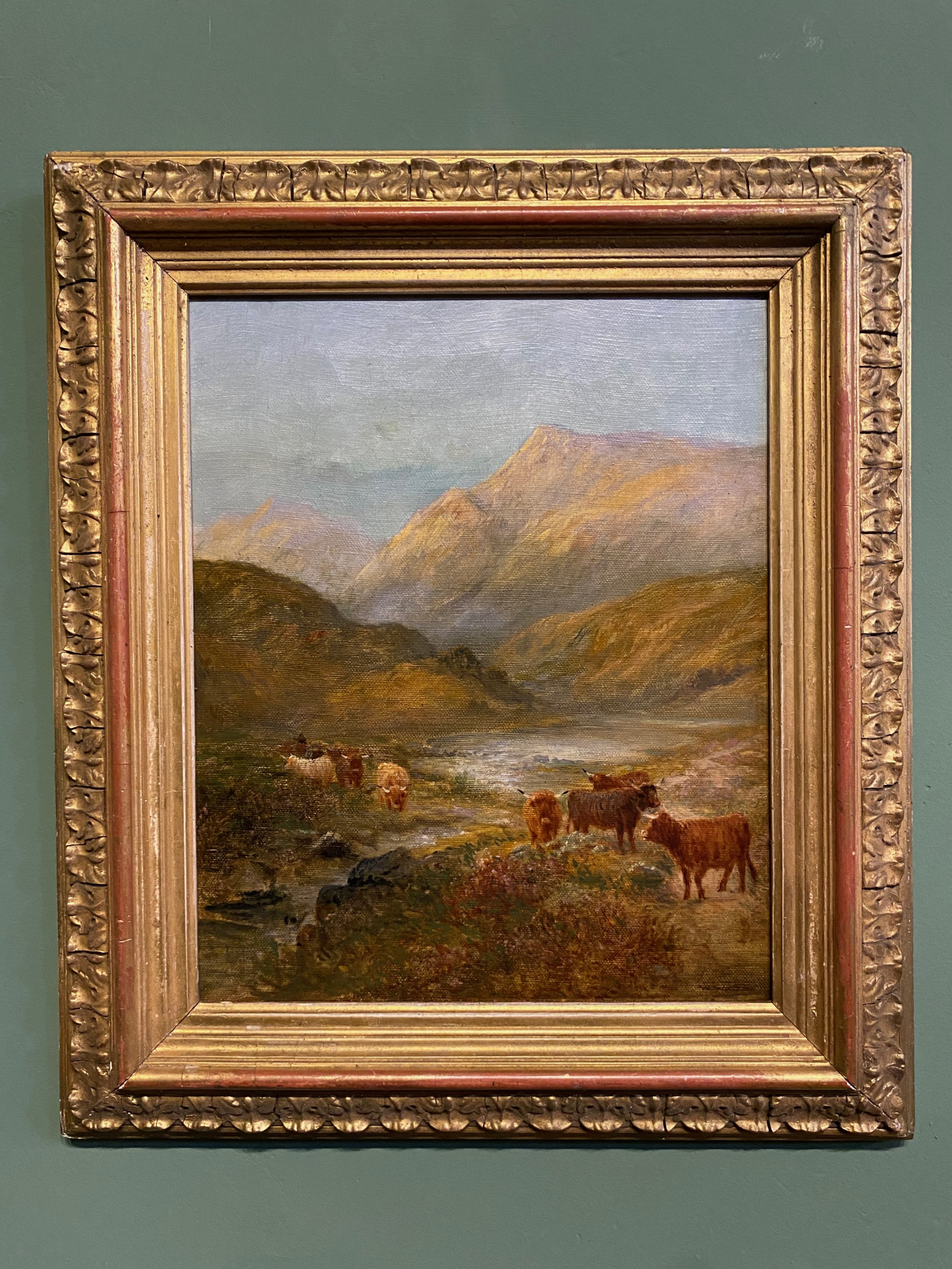 oil painting 19th century oil on canvas 'highland scene with cattle'