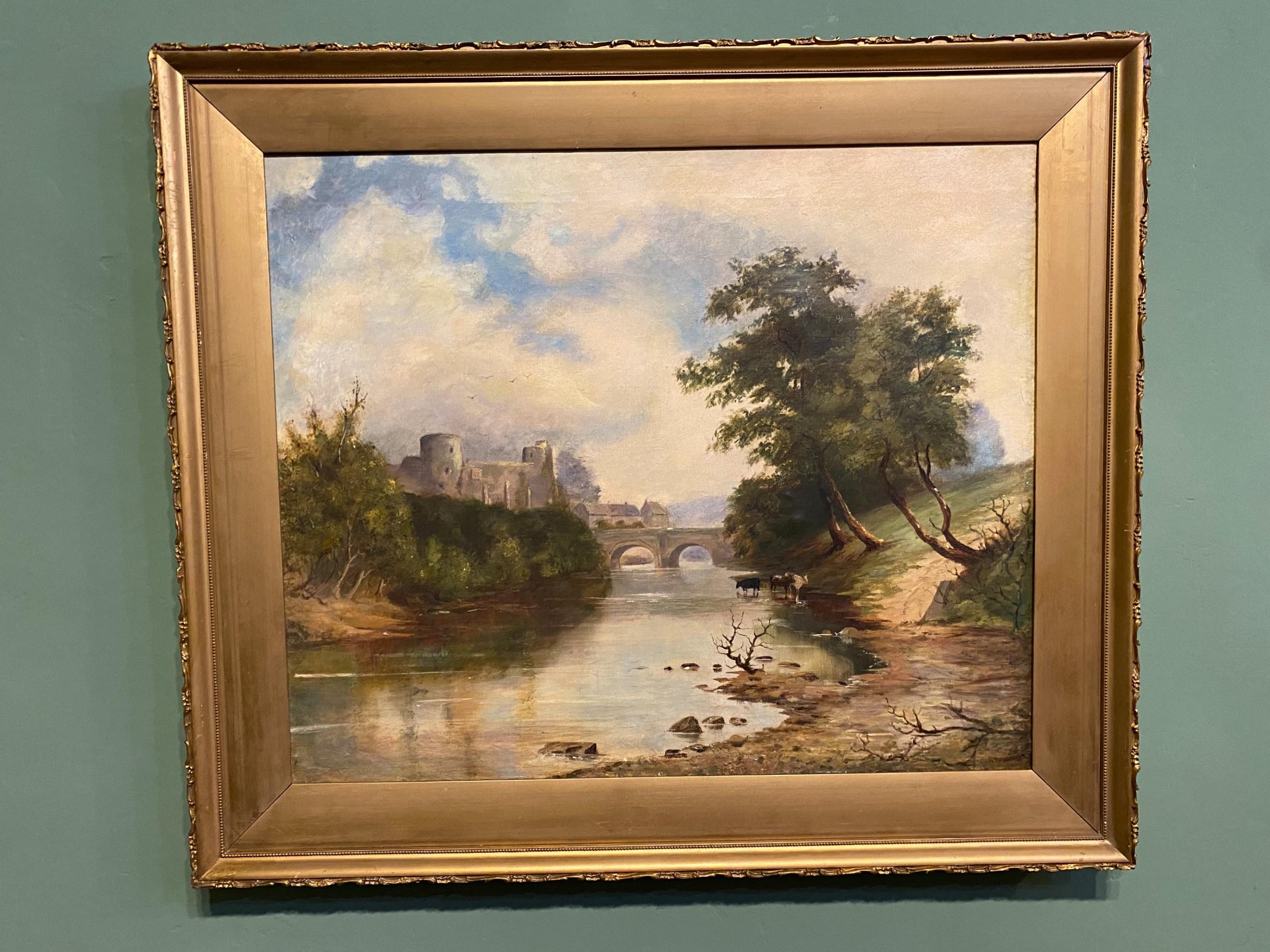 oil painting landscape of barnard castle from deepdale side oil on canvas
