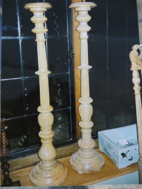 pair of beech candelsticks