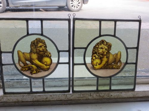 stained glass lions