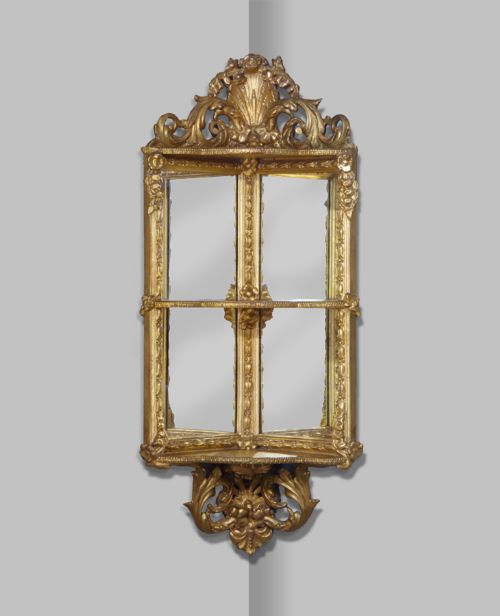 unusual 19th century gilt mirror backed corner shelf
