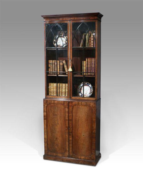 late regency mahogany bookcase cabinet