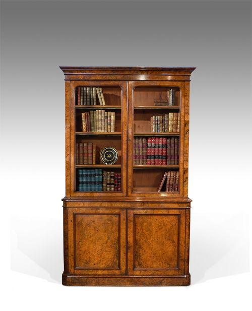 19th century burr walnut library bookcase