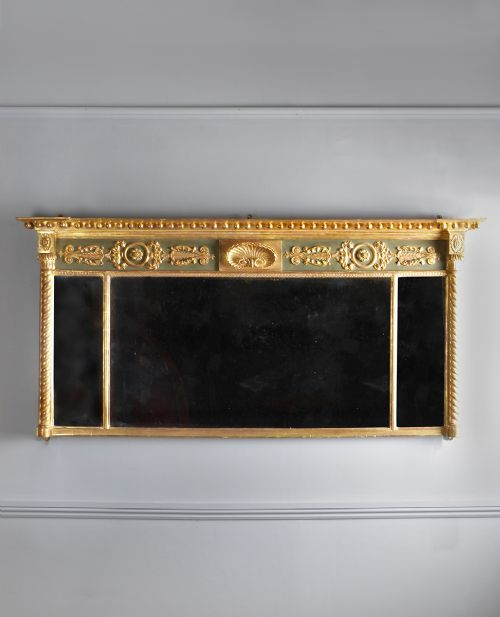 an exceptional regency giltwood overmantel mirror