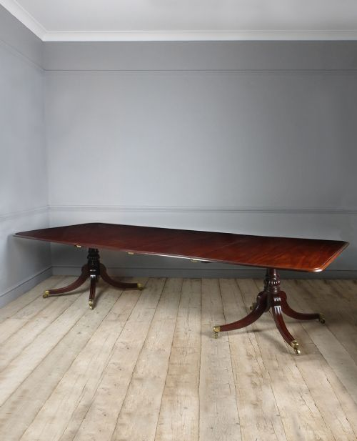 fine quality late regency mahogany extending twin pedestal dining table