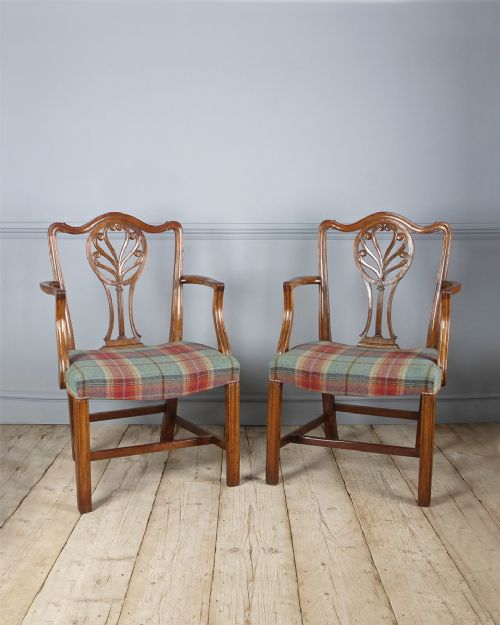 pair of 18th century faded mahogany carver chairs