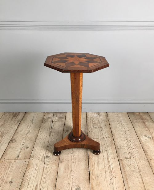 19th century octagonal parquetry lamp table