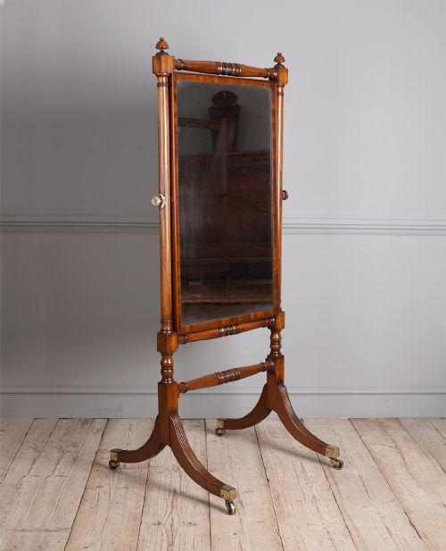 regency mahogany cheval mirror