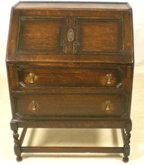 jacobean style dark oak writing bureau 71536. Black Bedroom Furniture Sets. Home Design Ideas