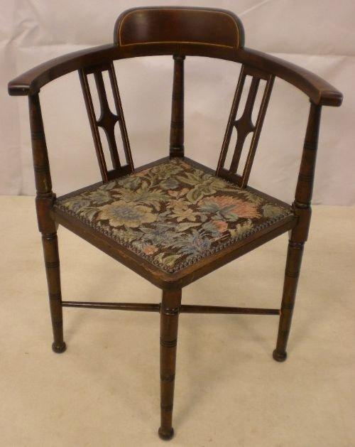 edwardian inlaid mahogany corner chair - Edwardian Inlaid Mahogany Corner Chair 74937 Sellingantiques.co.uk