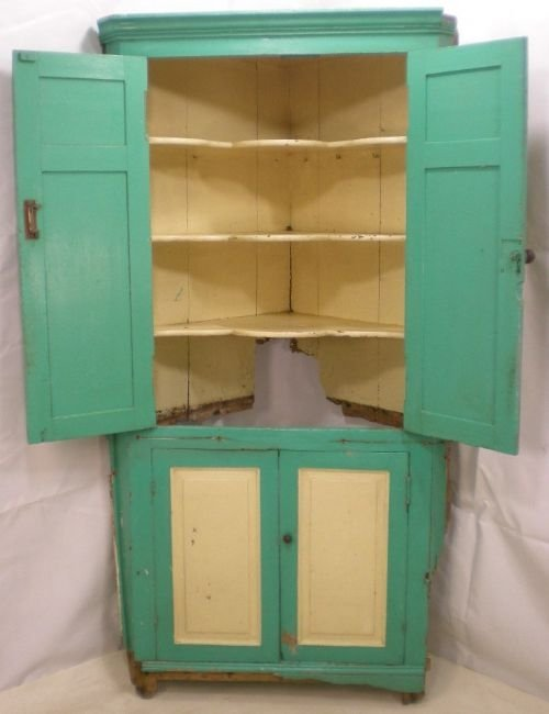 georgian painted pine standing corner cupboard for restoration