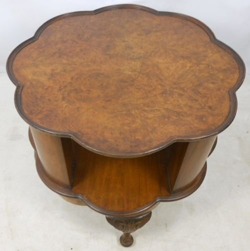 Captivating Queen Anne Style Walnut Revolving Bookcase Table