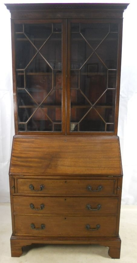 georgian style mahogany bureau bookcase