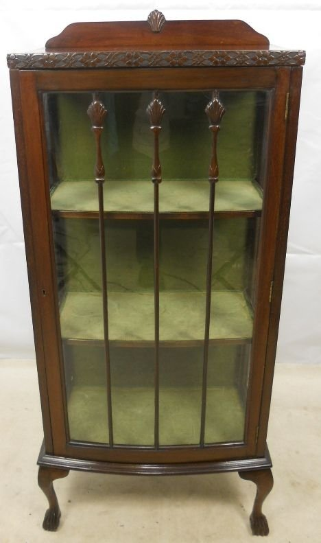 Queen Anne Style Mahogany Single Door China Cabinet