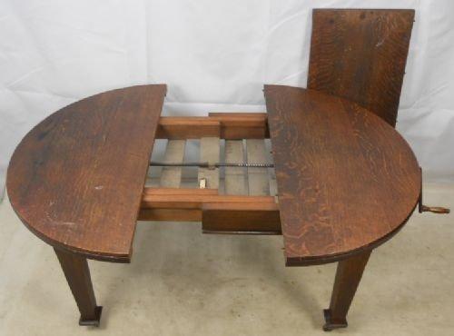 edwardian small oak round extending dining table 84455. Black Bedroom Furniture Sets. Home Design Ideas