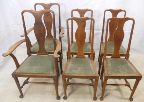 a set of six light oak queen anne style dining chairs - A Set Of Six Light Oak Queen Anne Style Dining Chairs 85650