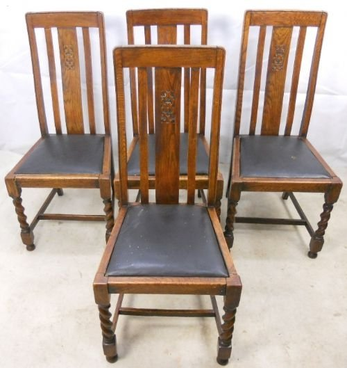 Gentil Set Of Four Barley Twist Oak Highback Dining Chairs