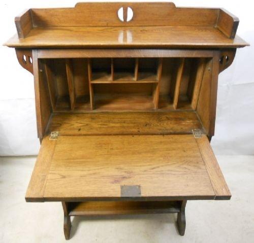 arts craft oak writing bureau desk art craft oak writing bureau desk 86998. Black Bedroom Furniture Sets. Home Design Ideas