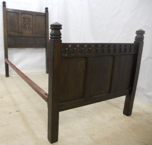 Jacobean Style Panelled Dark Oak Single Bed