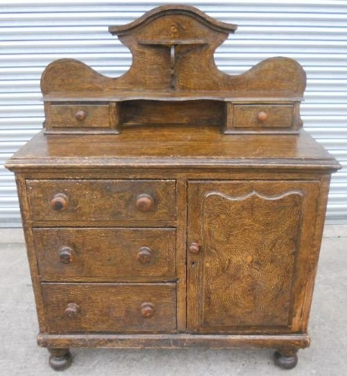 victorian pine decorated dresser