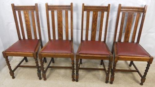 Attirant Set Of Four Oak Highback Barley Twist Dining Chairs