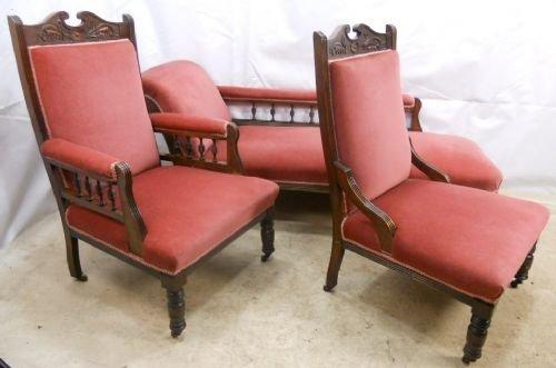 Edwardian Walnut Chaise Longue & Matching Armchairs | 93213 ...