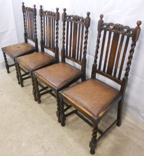 Set Of Four Oak Barley Twist Dining Chairs   103285   Sellingantiques.co.uk - Set Of Four Oak Barley Twist Dining Chairs 103285